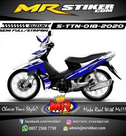 Stiker motor decal Suzuki Titan White Blue Grafis Line