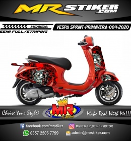 Stiker motor decal Vespa Sprint-Primavera Red Blog Doodle