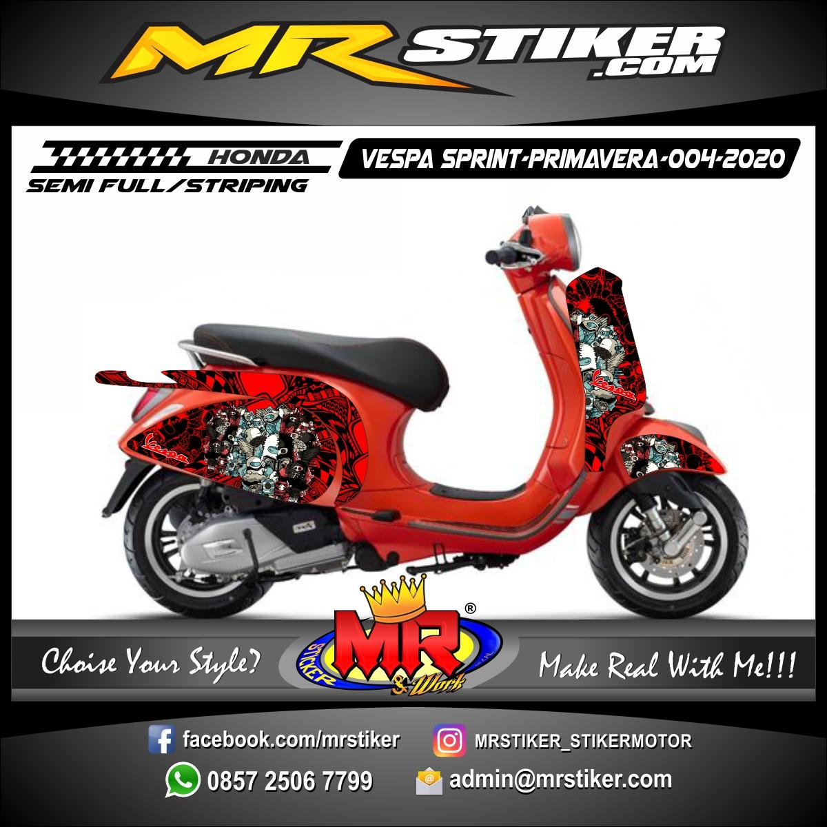 Stiker motor decal Vespa Sprint-Primavera Red Blog Doodle