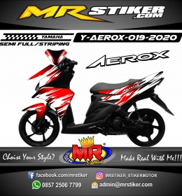 Stiker motor decal Yamaha Aerox DarkRed Gradation Splat White
