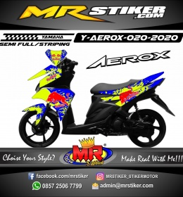 Stiker motor decal Yamaha Aerox Blue Green Splat RedBull