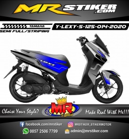 Stiker motor decal Yamaha Lexi 125 Gray Blue Tech