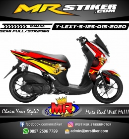 Stiker motor decal Yamaha Lexi 125 Red Carbon Yellow Bee Mascot