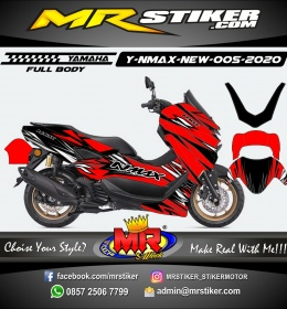 Stiker motor decal Yamaha NMAX New 2020 Red Abstrack Crack Grafis