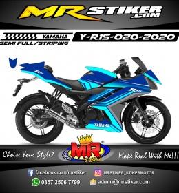 Stiker motor decal Yamaha R15 Blue Grafis Calm Line