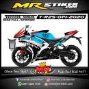 Stiker motor decal Yamaha R25 Blue Silver Shark