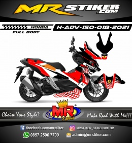 Stiker motor decal Honda ADV 150 FullBody Shark Ferrari Flag Race
