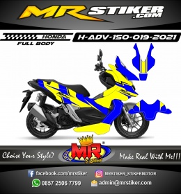 Stiker motor decal Honda ADV 150 FullBody Yellow Blue Line Sporty Race
