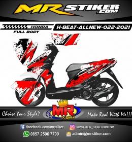 Stiker motor decal Honda Beat AllNew FULLBODY Red Splat Abstrack