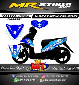 Stiker motor decal Honda Beat New Blue Doraemon FULLBODY