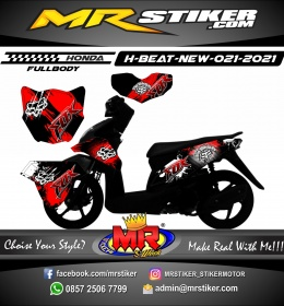 Stiker motor decal Honda Beat New Splat Blood Fox Rider FULLBODY