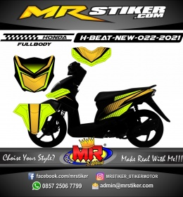 Stiker motor decal Honda Beat New Race Line Green Lime Simple FULLBODY