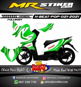 Stiker motor decal Honda Beat Pop FULLBODY Green Aesthetic Grafis Line