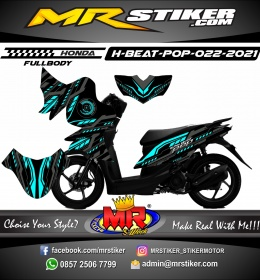 Stiker motor decal Honda Beat Pop FULLBODY Gray Techno Line Neon Blue