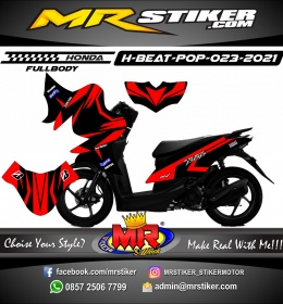 Stiker motor decal Honda Beat Pop FULLBODY Red Grafis One Heart