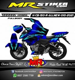 Stiker motor decal Honda CB 150 R All New Blue Grafis Splater Race Flag FullBody