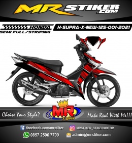 Stiker motor decal Honda Supra X 125 New Grid Red Grafis Line