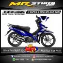 Stiker motor decal Honda Supra X 125 New Blue Line Gradation Sporty