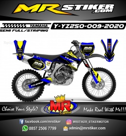 Stiker motor decal Yamaha YZ 250 Blue Road Race Grafis Yellow