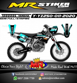 Stiker motor decal Yamaha YZ 250 Ice Blue Grafis Line Race Star