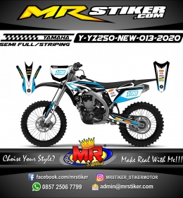 Stiker motor decal Yamaha YZ 250 F New White Blue Sky God Grafis