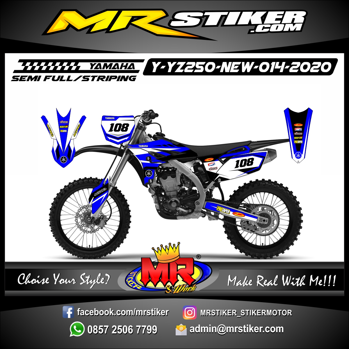 Stiker motor decal Yamaha YZ 250 F New Race Grafis Yamaha Edition