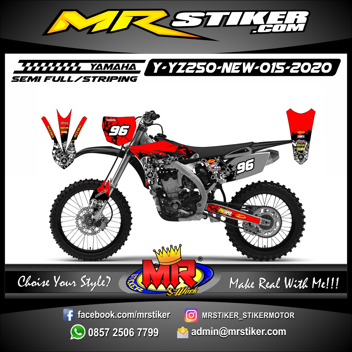 Stiker motor decal Yamaha YZ 250 F New Red Blood Skull