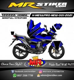 Stiker motor decal Honda Megapro New FullBody Blue Black Thick Grafis
