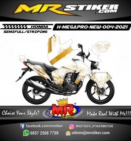 Stiker motor decal Honda Megapro New FullBody Techno Gold White