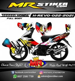 Stiker motor decal Honda Revo Splat Grafis Mascot Buldog (FullBody)