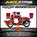 Stiker motor decal Honda Scoopy New Red Leaf graphics ColorFul (FullBody)