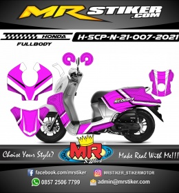 Stiker motor decal Honda Scoopy New 2021 Carbon Violet Color Grafis Style (FullBody)