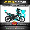 Stiker motor decal Honda Supra 150 GTR Grafis Airbrush Neon Blue (FullBody)