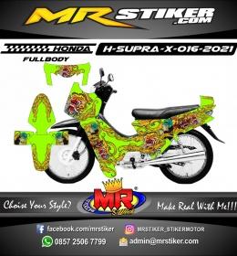 Stiker motor decal Honda Supra X Green Stabillo Barong Batik (FullBody)