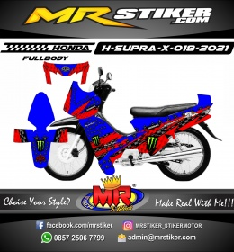Stiker motor decal Honda Supra X Red Blue Star Carbon Racing Monster Energy (FullBody)