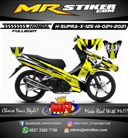 Stiker motor decal Honda Supra X 125 HI Yellow Grafis Fox Alpinestar (FULLBODY)