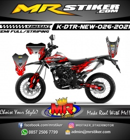 Stiker motor decal Kawasaki D-TRACKER New Flame Red Silver Mate