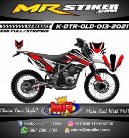 Stiker motor decal Kawasaki D-TRACKER OLD Red Grafis Race Line White