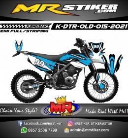 Stiker motor decal Kawasaki D-TRACKER OLD Blue White