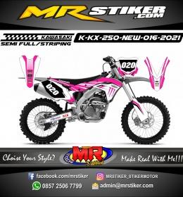 Stiker motor decal Kawasaki KX 250 New White Pink Monster Energy