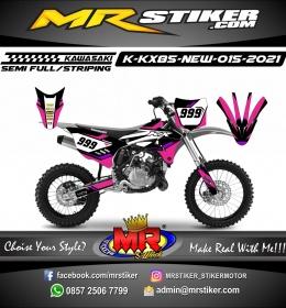 Stiker motor decal Kawasaki KX 85 New Grafis Line Pink Trail