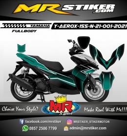 Stiker motor decal Yamaha Aerox 155 New 2021 Dark Tosca Grafis Line (FULLBODY)