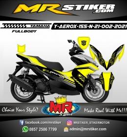 Stiker motor decal Yamaha Aerox 155 New 2021 Yellow Techno Circle Line (FULLBODY)