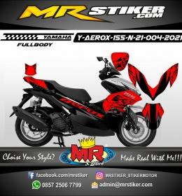 Stiker motor decal Yamaha Aerox 155 New 2021 Red Crack Grass Abstrack (FULLBODY)