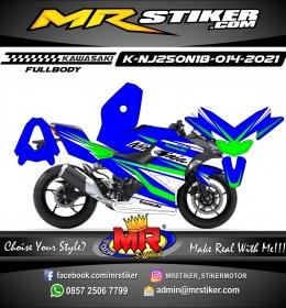 Stiker motor decal Kawasaki Ninja 250 All New 2018 Blue Green Grafis (FULLBODY)