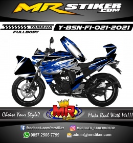 Stiker motor decal Yamaha Byson New Fullbody Silver Mate Line Grafis Splat Navy Blue