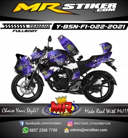 Stiker motor decal Yamaha Byson New Fullbody Full Splat Purple Monster Energy