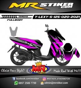 Stiker motor decal Yamaha Lexi 125 Grafis Line Purple Cool FullBody