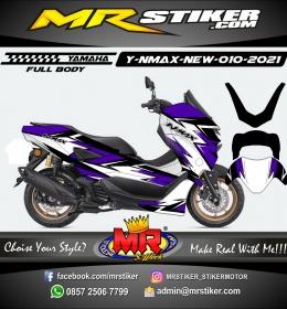 Stiker motor decal Yamaha NMAX New 2020 White Purple Cracker grafis (FULLBODY)