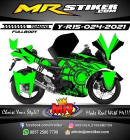 Stiker motor decal Yamaha R15 Green Circle techno Carbon (FULLBODY)
